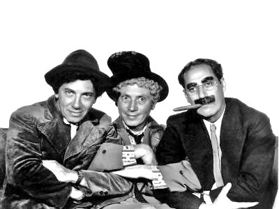 The eternally clever Chico, zany Harpo, and deadpanning and wisecracking Groucho.