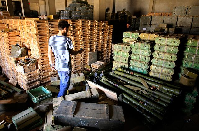 Warehouse full of stockpiles of weapons captured by the LIPG--and transported overland through Egypt to Gaza.