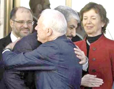 This photo of Carter embracing Hamas terrorist leader Khaled Meshaal is undated but typical of how Carter has gone off the deep end.
