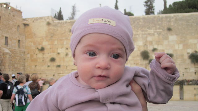 Little Chaya at the Kotel a few weeks ago (photo Jpost).
