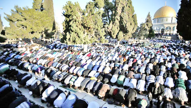 Thousands of Muslim worshipers praying yesterday on the Temple Mount in Jerusalem--the holiest place in Judaism.