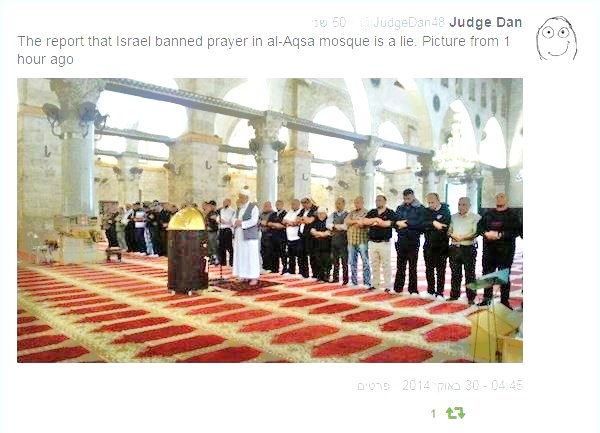 No caption is needed. This is in the Al-Aksa Mosque this afternoon (picture: Judge Dan).
