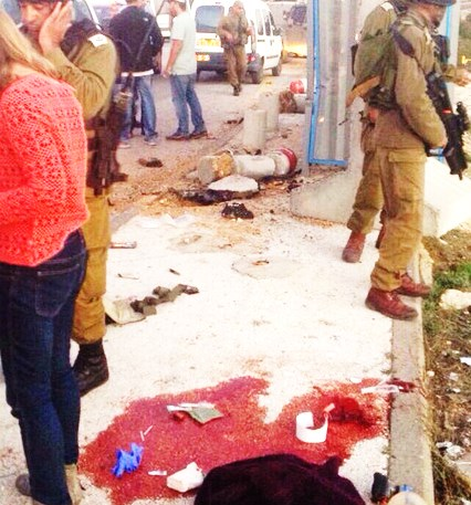 The bloody scene at Alon Shvot today (picture: Walla).