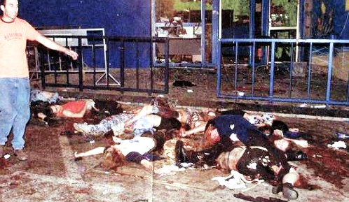 Part of the gruesome scene at the Dolphinarium in 2001.
