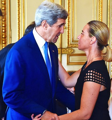 New EU Foreign Minister Federico Mogherini in a fond embrace with her friend in Paris back in August during Gaza ceasefire talks.