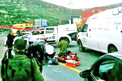 The scene where the Israeli man was run over this afternoon (picture: walla).