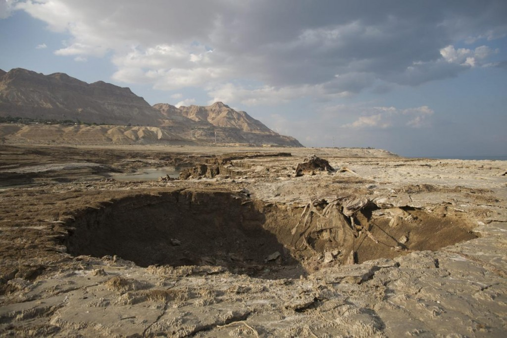 The precipitous decline in the Dead Sea continues. Note the sinkhole in the foreground.
