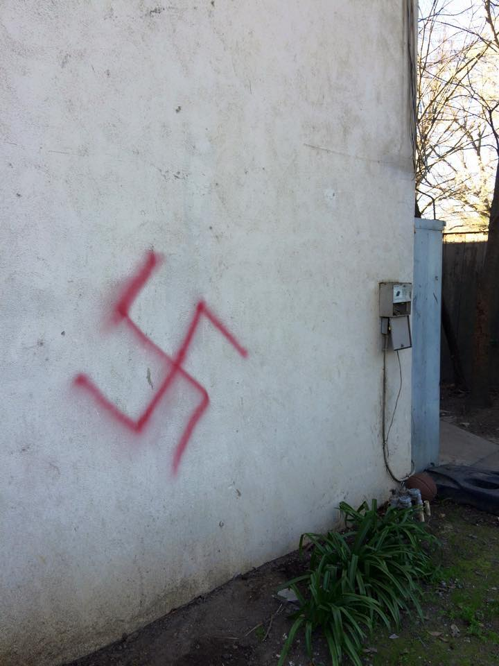 One of 2 swastikas on the wall of the Jewish fraternity house at UC-Davis.