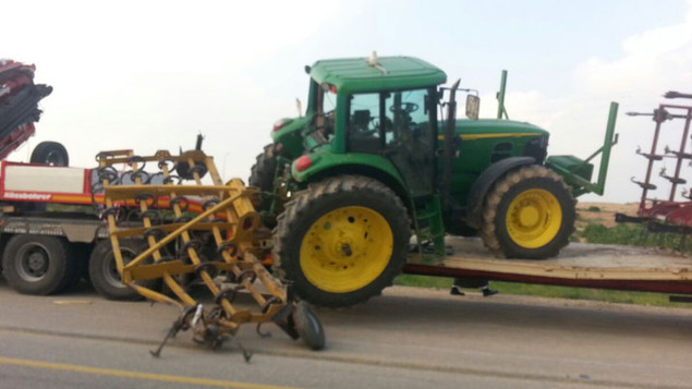 The piece of equipment which sideswiped the bus is behind the tractor (picture: walla).