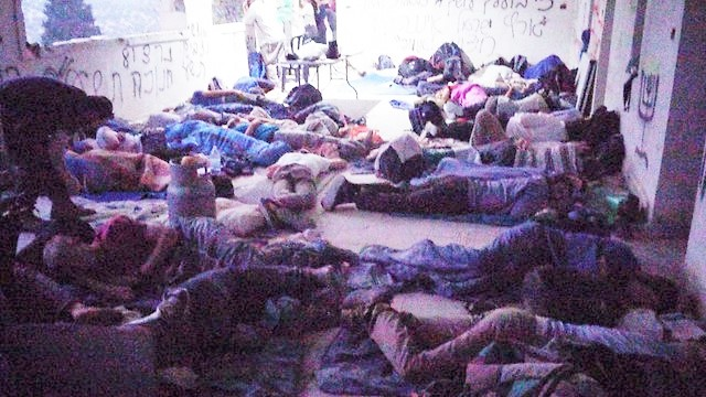 """Jewish community members asleep in """"The Fort""""."""