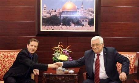 """Two unelected """"leaders"""" of their countries: Yitzhak Herzog was defeated in the 2015 election, and Mahmoud Abbas hasn't allowed a Palestinian election for almost a decade. But that didn't stop them from """"negotiating."""""""