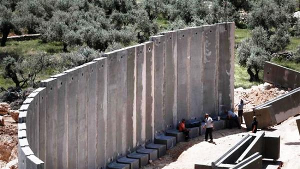 The wall going up at Kibbutz