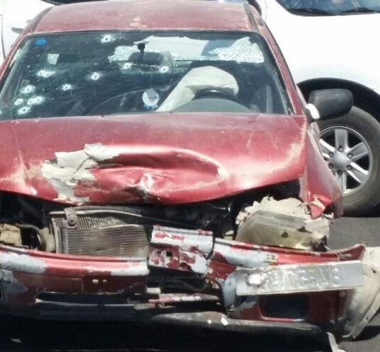 The terrorist's car: note the bullet holes in the windshield.