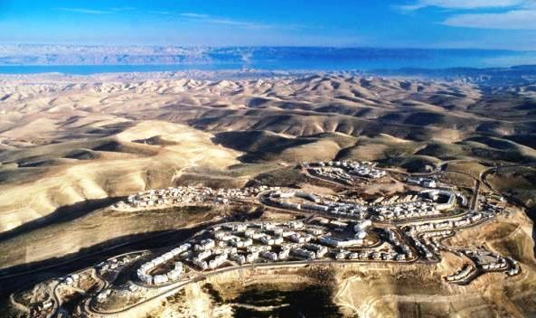 A picture of Ma'ale Adumim looking toward the Dead Sea on a clear day. This picture was made decades ago before the city had grown to its current size (Photo Isi Leibler).