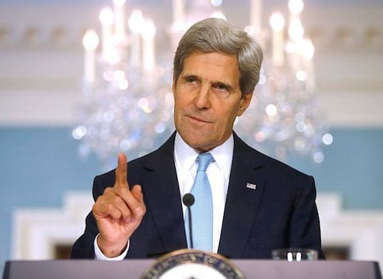 An ever-lecturing John Kerry on Friday, talking about emissions from air conditioners and refrigerators.