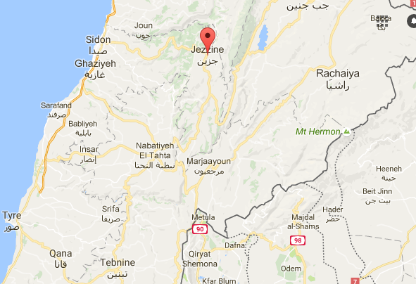 Note the Israel border with the cities of Metulla and Majdal Shams at the lower right.