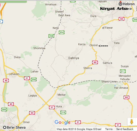 Note Kiryat Arba just south of Hevron in the upper right, the arrow pointing to Otniel, and Beersheva in the lower left.