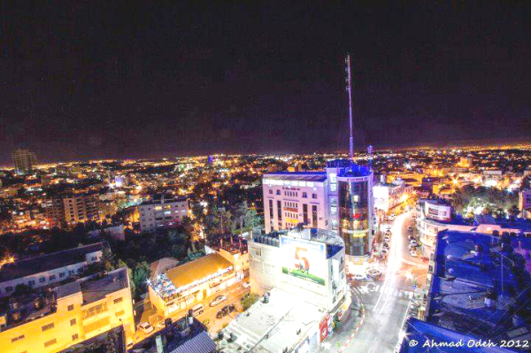 Ramallah and the surrounding area at night. Who pays for all the electricity? Certainly not the Palestinians. (Picture source on photo).