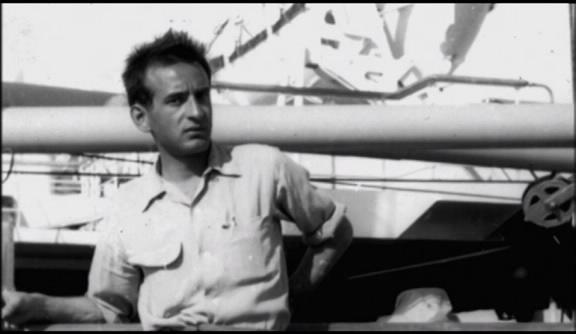 Elie Wiesel on board a ship to Israel in 1949.