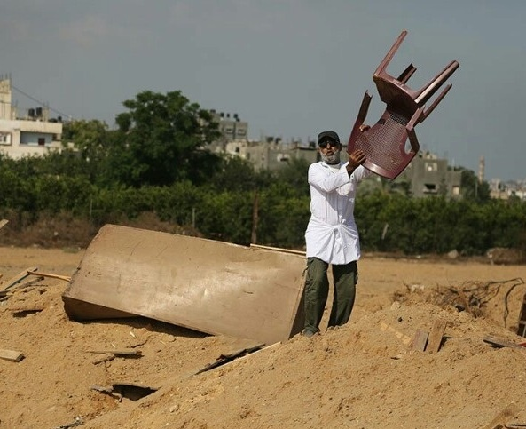 Israel's fight against terrorism. Who knows how much money it cost for an F-15 to fly over Gaza and drop a laser-guided bomb on this plastic chair?