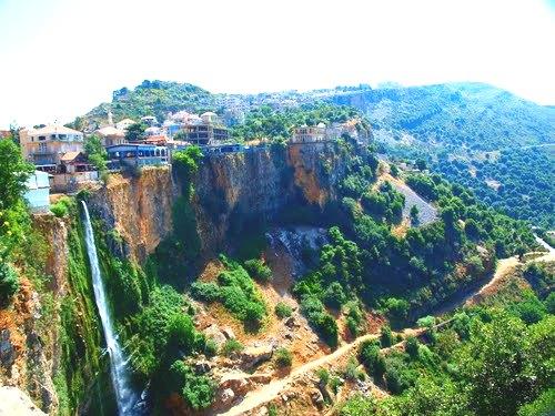 The picturesque town of Jezzine, Lebanon strategically located