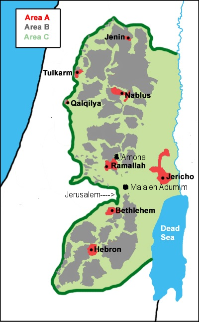 Judea and Samaria: map of Areas A, B, and C--as established by an agreement between Israel and the Palestinians in the Oslo Accords.