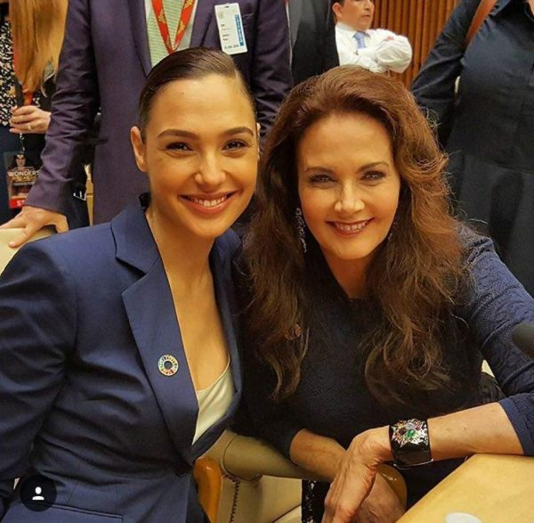 Gal Gadot, the current Wonder Woman (on the left), with Lynda Carter, the original Wonder Woman from the 1970s.