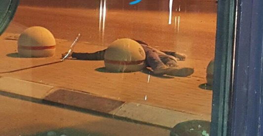 The dead terrorist at Qalandiya yesterday evening.