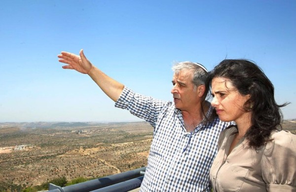 Shaked on a tour of Area C with a Jewish community leader.