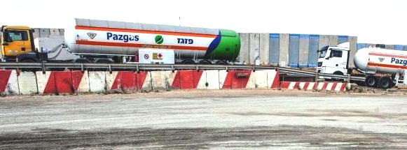 Israeli fuel trucks carrying diesel fuel into Gaza.