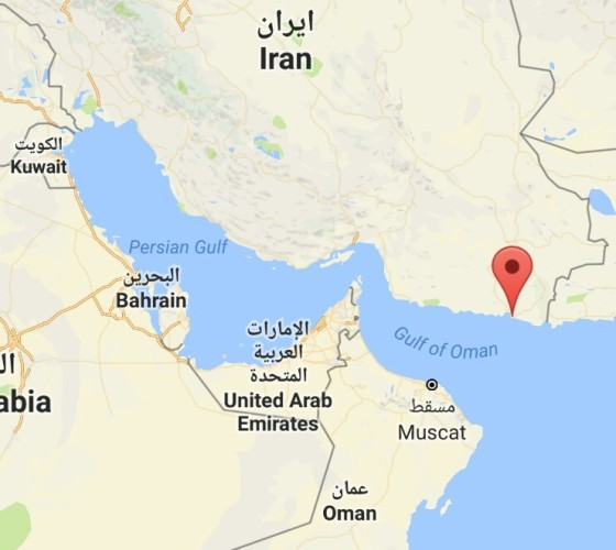The location of the new Iranian naval base.