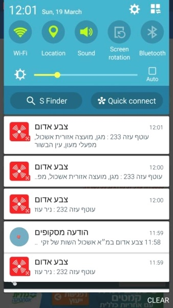 My telephone showing Incoming missile alarms for Zones 232 and 233 on the Gaza border.