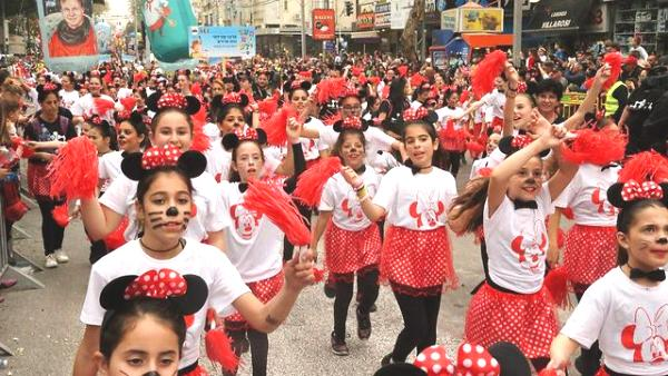 The Mickey Mouse Club dancing in the streets of Holon.