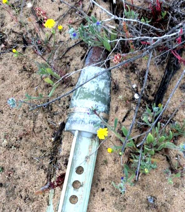 The missile part found in front of our house this morning.