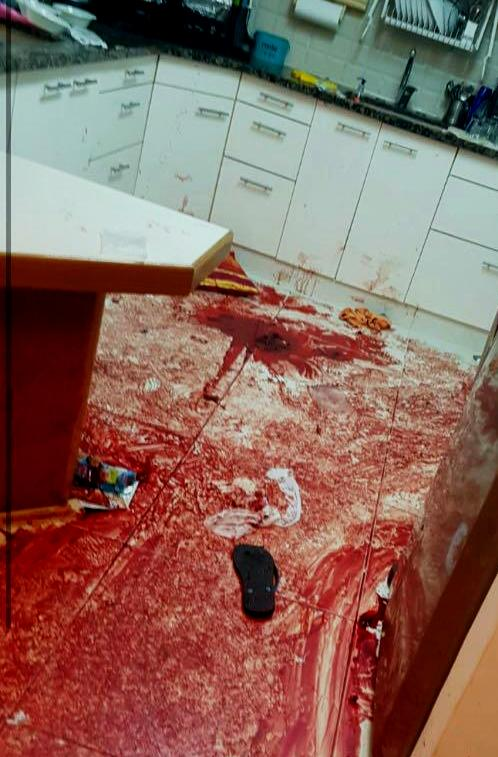 The kitchen of the home awash in the blood of the victims (photo: IDF spokesman).