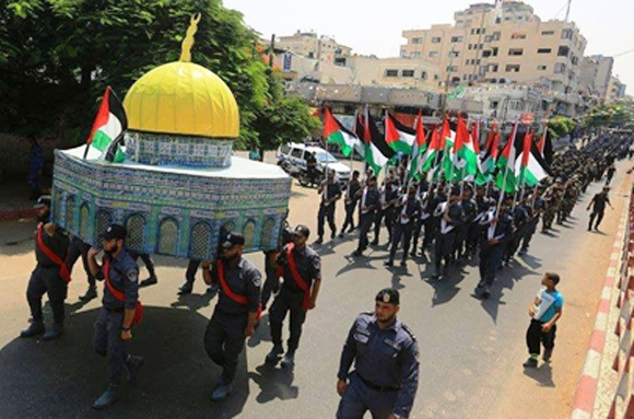 The Hamas victory parade through Gaza yesterday (photo: Channel 2).