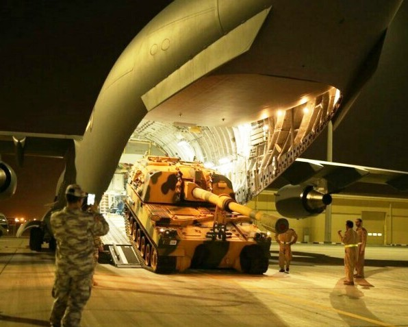 Turkish heavy weapons being offloaded from a Turkish cargo place in Qatar last night.