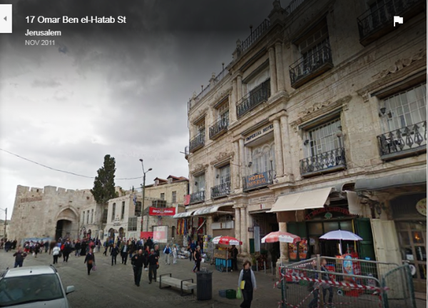 The Jaffa Gate at left corner of the picture: the Imperial Hotel at the right (picture: streetview GoogleEarth).