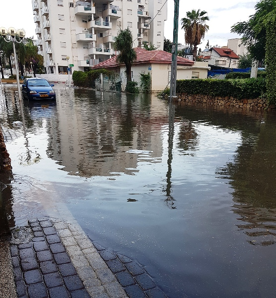 A flooded street in Nayariya this morning (picture ynet).