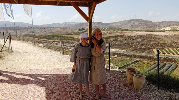 Two girls in ancient Shilo. On the day we were there many of the youth were dressed as they would have been thousands of years ago.