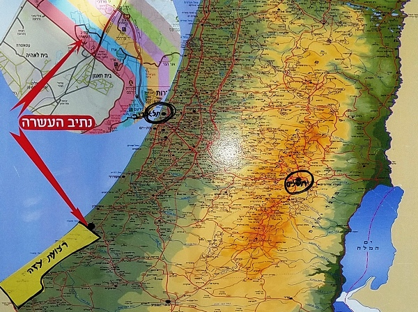 Note Gaza, the yellow strip in the lower left hand corner of the map.
