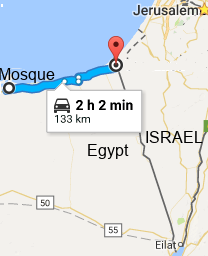 The proximity of the mosque attack to the Israeli border.