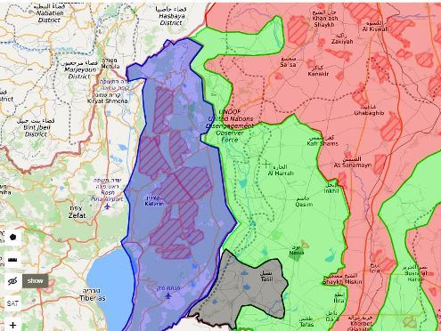 The purple area is the Israeli Golan Heights; the green area is Sunni-Rebel controlled, the black area is Islamic State controlled; the red area is controlled by Assad and Hezbollah. (Map is taken from G-planet).