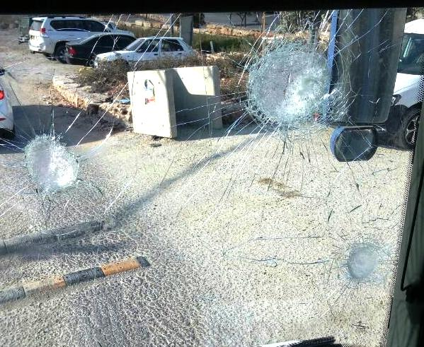 The view from inside a bus that was attacked on Road 443 yesterday afternoon. The terrorists were attempting to cause the bus driver to lose control and crash. Fortunately, he did not.