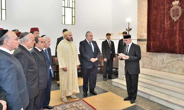 King Mohammed VI at the opening of a Jewish synagogue in Morocco last year.