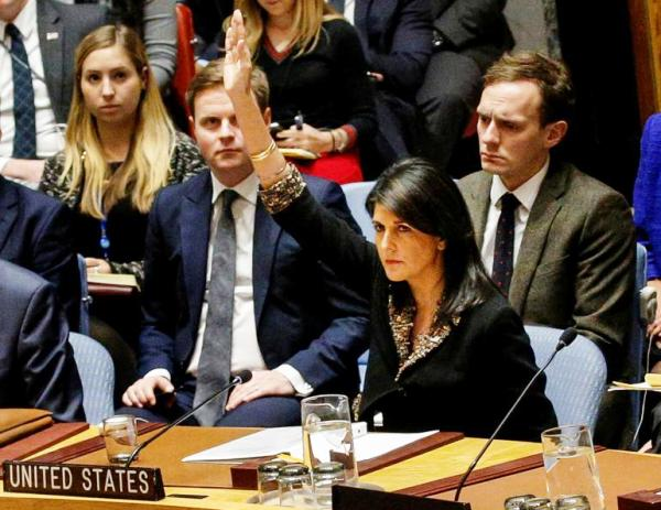 An angry U.S. Ambassador Nikki Haley vetoes the Egyptian resolution in the Security Council yesterday (photo: Reuters).