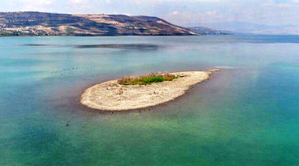 As the water level drops far below the critical level, islands are beginning to appear in the Kinneret.