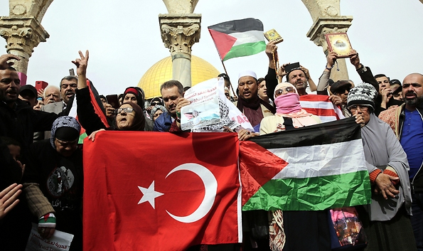 The Turkish flag and Palestinian flags on the Temple Mount. It is simply nauseating that the police do nothing to prevent displays like this--but quickly arrest anyone who dares to wave an Israeli flag on the Mount.