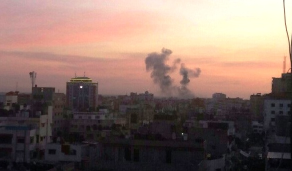 Smoke rising after two bombs hit terror targets in Gaza late yesterday afternoon.