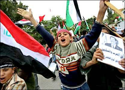 We all remember celebrations like this with Iraqi and PLO flags--and pictures of Saddam Hussein.